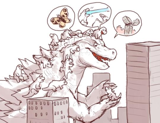 E621 ambiguous_gender grupo cidade Godzilla godzilla_ (séries) iguanamouth mothra riding_on_head arranha-céus símbolo speech_bubble jovem