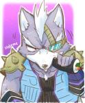 angry anthro armor black_nose canine chewing clothing eye_patch eyewear fingerless_gloves food fur gloves grey_fur hair jacket kemo_nuko male mammal nintendo shoulder_pads simple_background solo star_fox sushi video_games white_fur white_hair wolf wolf_o'donnell  Rating: Safe Score: 3 User: Cane751 Date: July 01, 2016