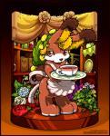 2017 anthro beverage female flower fur lagomorph mammal myris_(odin_sphere) o-kemono odin_sphere plant pooka red_fur rose solo tea video_gamesRating: SafeScore: 4User: GooglipodDate: November 22, 2017