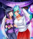 2017 age_difference animal_humanoid balloon banner bedroom_eyes big_breasts birthday birthday_party birthday_sex blush book bookshelf bow breasts castle cleavage clothed clothing duo english_text equine eyebrows eyebrows_visible_through_hair eyelashes feathered_wings feathers female female/female friendship_is_magic fully_clothed gift hair half-closed_eyes hand_on_shoulder holding_object horn humanoid imminent_sex inside jeans kama_sutra licking licking_lips makeup mammal mascara multicolored_hair my_little_pony nervous night open_mouth open_smile pants portrait princess_celestia_(mlp) punch_bowl purple_eyes racoon-kun rainbow_hair ribbons seductive sex shirt skirt sky smile standing star starry_sky student suggestive sweat table teacher teacher_and_student teeth text three-quarter_portrait tongue tongue_out twilight_sparkle_(mlp) unicorn watermark wide_eyed window winged_humanoid winged_unicorn wingsRating: QuestionableScore: 20User: GlimGlamDate: February 15, 2018