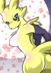 breasts butt clothing digimon female flower gloves looking_at_viewer nude plant rear_view renamon shiny solo standing tamaryuu   Rating: Questionable  Score: 7  User: CosmicHare  Date: April 25, 2015