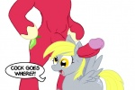 anthro anthro_on_feral aural balls bestiality big_macintosh_(mlp) blonde_hair cock_goes_where cutie_mark derp derp_eyes derpy_hooves_(mlp) dialogue doing_it_wrong duo ear_penetration english_text equine female feral friendship_is_magic fucked_silly fur glenn grey_fur hair horse hyper interspecies male male/female mammal mindfuck my_little_pony open_mouth orange_eyes pegasus penis plain_background pony red_fur sex text what white_background wings   Rating: Explicit  Score: 3  User: misspriss  Date: March 17, 2011