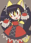 archie_comics black_hair cat clothed clothing feline female fur hair honey_the_cat mammal shuu signature simple_background solo sonic_(series) yellow_fur