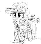 2013 clothed clothing costume cute dialogue disguise equine female friendship_is_magic hat horn mammal mewball monochrome my_little_pony solo text twilight_sparkle_(mlp) unicorn   Rating: Safe  Score: 8  User: anthroking  Date: February 14, 2014