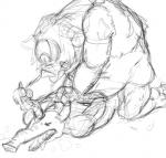 ambiguous_gender breath_of_the_wild clothed clothing duo from_behind_(disambiguation) hinox humanoid interspecies kneeling lying male mammal moblin monster nintendo on_front partially_clothed porcine rough_sex sex sketch the_legend_of_zelda unknown_artist video_games