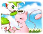 ambiguous_gender blush cloud crown cute eyes_closed feral fur green_eyes green_fur mew nintendo open_mouth pink_skin pokémon shaymin shaymin_(sky_form) sky tongue unknown_artist video_games white_fur   Rating: Safe  Score: 1  User: Hydr0  Date: February 28, 2015