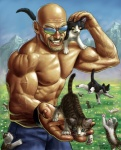 amazing bald bite cat cub cute eyewear facial_hair feline feral glasses grass human it's_dangerous_to_go_alone male mountain muscles mustache nom offering om_nom_nom shiny smile sunglasses taku topless young   Rating: Safe  Score: 17  User: ktkr  Date: July 08, 2011