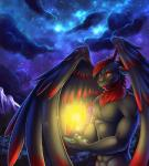 anthro detailed_background dragon feathered_dragon feathered_wings feathers hair male night nude red_eyes red_hair shariea sky solo standing star starry_sky wings