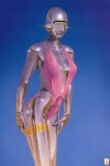 aerosmith bikini clothed clothing female grey_body hajime_sorayama hi_res humanoid lips machine metallic_body not_furry pinup pose robot shiny simple_background skimpy solo standing swimsuit technophilia