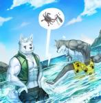 6graycloudp abs arthropod biceps big_muscles canine clothing crab crustacean dog_tags duo hands_on_hips male mammal marine muscular necklace partially_submerged pecs pinch purple_eyes swimsuit toes water wolf wounded  Rating: Safe Score: 8 User: Tealmarket Date: September 29, 2015