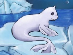ambiguous_gender blue_eyes cool_colors dewgong fangs feral fin fur horn ice low_res moon night nintendo outside pokémon solo teraphim video_games water white_fur