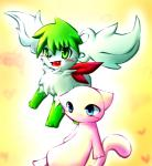 <3 all_fours ambiguous_gender blue_eyes blush cute duo fur green_eyes green_fur legendary_pokémon mew nintendo open_mouth pink_fur plain_background pokémon shaymin shaymin_(sky_form) sitting teeth tongue unknown_artist video_games yellow_background   Rating: Safe  Score: 0  User: Hydr0  Date: February 03, 2015