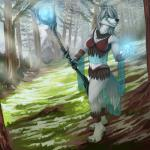anthro blue_eyes canine claws clothed clothing cloud danza detailed_background fantasy feathers female forest fur hair healer magic mammal outside pine polearm sky smile solo staff teeth tree weapon wolf   Rating: Safe  Score: 21  User: random_person  Date: February 10, 2015