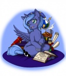 2014 blue_eyes blush book cup cutie_mark elements_of_harmony equine female friendship_is_magic globe hat horn longinius mammal my_little_pony nightcap princess_luna_(mlp) scroll sitting solo steam winged_unicorn wings young  Rating: Safe Score: 14 User: 2DUK Date: June 21, 2014