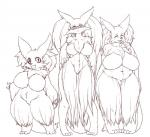 big_breasts breasts canine chest_tuft delphox eyes_closed eyewear fdokkaku female fox fur glasses group hands_on_hips line_art looking_at_viewer mammal nintendo nude pokémon tuft video_games   Rating: Questionable  Score: 7  User: beartraps  Date: December 30, 2013