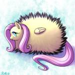 2016 blue_eyes cute equine feathered_wings feathers female feral fluffy fluttershy_(mlp) friendship_is_magic fur hair mammal my_little_pony nude pegasus pink_hair poof ratte simple_background smile solo textured_background wings yellow_feathers yellow_fur
