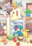 aipom apple burger candy chimecho cupcake detailed_background eating feral food fridge fruit grapes group hi_res lollipop mammal melon minun munchlax mustard nintendo oddish official_art pikachu plusle pokémon rodent sandwich_(food) skitty smoochum tomato torchic video_games