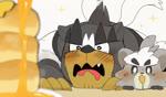 2021 ambiguous_gender animated anthro black_body black_fur blush bodily_fluids drooling duo food fur grey_body grey_fur honey_(food) hyaku_(artist) kemono kubfu legendary_pokémon looking_at_food looking_at_object nintendo no_sound pancake pokémon pokémon_(species) saliva short_playtime single_strike_style_urshifu urshifu video_games webm