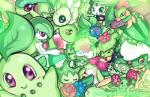 ambiguous_gender anthro bellossom blush cacnea celebi chikorita cute dragon eyelashes eyes_closed feathered_wings feathers feral flora_fauna flower flygon gardevoir geegeet green_hair green_theme grotle group gulpin hair humanoid large_group legendary_pokémon lilligant long_hair mammal meganium meloetta meloetta_(aria_form) membranous_wings metapod natu nintendo oddish pink_eyes plant plant_wormadam pokémon pokémon_(species) purple_eyes ralts roselia roserade scalie scyther skiploom tropius video_games wings wormadam