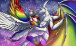 2015 anthro canine claws color dragon duo fur horn jakensitou love male male/male mammal nude rainbow romantic smile super_gay tattoo wings wolf  Rating: Safe Score: -1 User: Lynthe Date: September 04, 2015
