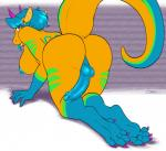 2015 anthro balls bent_over blue_hair blue_penis blue_tongue breasts butt claws dickgirl dragon elina feet gloves_(marking) hair horn iko intersex kneeling looking_at_viewer markings nude paws penis purple_eyes scalie socks_(marking) solo stripes toe_claws tongue tongue_out yellow_body  Rating: Explicit Score: 10 User: Iko Date: September 24, 2015