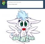 2014 ambiguous_gender ask_blog blue_hair feathered_wings feathers female feral fur green_eyes hair happy heir_of_rick looking_at_viewer mammal patch_(character) smile solo text tumblr unknown_artist wings  Rating: Safe Score: 2 User: M3W Date: July 01, 2014