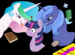 ! 2011 absurd_res ak71 alpha_channel blue_body blue_hair blush book bri-sta condom dildo english_text equine female feral friendship_is_magic fur group hair hi_res horn long_hair lube mammal my_little_pony princess princess_celestia_(mlp) princess_luna_(mlp) purple_fur royalty sex_toy short_hair sibling simple_background sisters text tongue tongue_out transparent_background twilight_sparkle_(mlp) unicorn  Rating: Questionable Score: 4 User: Somepony Date: September 18, 2011