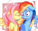 2015 blush cute duo equine female female/female feral fluttershy_(mlp) friendship_is_magic kissing mammal my_little_pony nobody47 pegasus rainbow_dash_(mlp) wings  Rating: Safe Score: 11 User: Robinebra Date: August 22, 2015