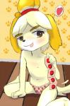 <3 animal_crossing anthro canine clothed clothing condom cub dog female half-dressed holding_condom isabelle_(animal_crossing) kamperkiller_(artist) loli mammal nintendo panties shih_tzu solo tongue tongue_out topless underwear video_games young  Rating: Explicit Score: 13 User: kamperkiller Date: March 03, 2015