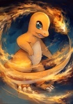 ambiguous_gender blue_eyes charmander claws eldrige feral fire flaming_tail nintendo open_mouth orange_skin pokémon restricted_palette solo standing video_games