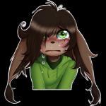 alpha_channel ambiguous_gender american_mythology anthro brown_fur brown_hair chupacabra clothed clothing crying eric_dielli fur green_eyes hair hoodie lemur2003_(artist) looking_at_viewer mythology reaction_image sad simple_background solo tears transparent_background