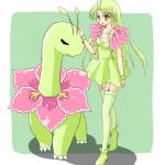 alternate_species breasts clothing cosplay dress duo female feral hair human humanized humanoid long_hair mammal meganium nintendo panties pokémon pokémon_trainer ranphafranboise underwear video_games