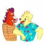 anthro bojack_horseman bojack_horseman_(character) canine clothed clothing dog duo equine horse labrador male mammal mr._peanutbutter quijotesca_(artist)  Rating: Safe Score: 0 User: Every1DrinkBeer Date: August 01, 2015