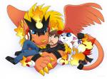 black_nose blue_eyes brown_hair claws clothed clothing digimon feathered_wings feathers firamon fire footwear fur gatomon group hair hat headphones human jacket jeans jidarpls kootra mammal one_eye_closed pants shoes simple_background the_creatures white_fur wings yellow_fur yellow_nose  Rating: Safe Score: 1 User: slyroon Date: April 04, 2016