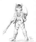 """anthro atticus_kotch belt black_nose boots canine clothing female footwear fox hair jacket jewelry krystal mammal melee_weapon monochrome necklace nintendo plain_background polearm scarf short_hair signature solo staff star_fox video_games weapon  Rating: Safe Score: 4 User: Cαnε751 Date: June 05, 2015"""""""