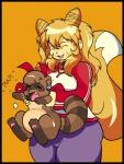 "ambiguous_gender anthro blonde_hair brown_fur canine collar dktorzi duo fangs female fox fur hair mammal pawpads paws raccoon standing  Rating: Safe Score: 1 User: Kitsu~ Date: August 16, 2009"""