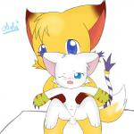 anthro bandai canine cat crystaltail digimon duo feline female fox gatomon male male/female mammal penis pussy sitting string   Rating: Explicit  Score: 0  User: crystaltail  Date: January 06, 2015