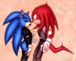 <3 blue_fur blush bottomless bulge classy claws clothed clothing crossgender dreadlocks duo ear_piercing echidna female fur green_eyes hair hedgehog knuckles_the_echidna lipstick long_hair makeup male mammal monotreme necktie piercing red_fur shadisfaction sonic_(series) sonic_the_hedgehog suit teasing thick_thighs