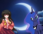 abstract_background black_hair blue_body blue_eyes blue_hair clothing cloud crossover duo equine female friendship_is_magic hair horn human kaguya_houraisan long_hair mammal moon my_little_pony princess_luna_(mlp) red_eyes royalty simple_background smile touhou winged_unicorn wings  Rating: Safe Score: 3 User: 002LockoN Date: October 29, 2014