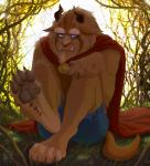 2015 anthro barefoot beard beast_(disney) blue_eyes brown_fur cape claws clothing disney facial_hair foot_focus fur grass hi_res horn looking_at_viewer male monster muscular outside pants pawpads paws signature sitting solo teeth toe_claws torn_clothing zen  Rating: Safe Score: 13 User: Jekjekje Date: August 14, 2015