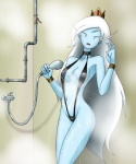 adventure_time bikini black_clothing blue_skin breasts clothed clothing crown female hair ice_queen long_hair looking_at_viewer one-piece_swimsuit shower skimpy sling_bikini swimsuit wet white_hair   Rating: Questionable  Score: 14  User: DJ-Voidweaver  Date: October 30, 2012