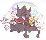 blush cat collar eating fan feline food green_eyes licking licking_lips mammal rainbow robbi_(artist) spitting sweat tongue tongue_out umbrella watermelon   Rating: Safe  Score: 5  User: ktkr  Date: April 20, 2015