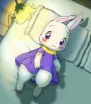 bed blush chima clover cub cute dress female fur happy_happy_clover lagomorph looking_at_viewer mammal mimitako pose purple_eyes rabbit smile solo white_fur young   Rating: Questionable  Score: 6  User: Jontron  Date: April 21, 2014