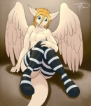 2015 anthro blue_eyes cerezo dragon feathered_wings feathers freckles_(artist) fur furred_dragon male solo wings   Rating: Questionable  Score: 4  User: DSR1337  Date: March 27, 2015
