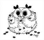 avian beverage bird black_and_white boggartowl coffee coffee_beans drinking food line_art low_res monochrome owl owl_(boggartowl) signature simple_background solo white_background  Rating: Safe Score: 3 User: KilLDarK Date: February 10, 2016