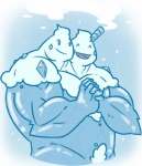 ^_^ animate_inanimate blue_background blue_body blue_theme brothers cute dessert digital_drawing_(artwork) digital_media_(artwork) duo empty_eyes eyes_closed food front_view half-length_portrait hand_holding happyending humanoid hyper hyper_muscles ice_cream male male/male manly muscular muscular_male nintendo not_furry nude open_mouth open_smile pink_eyes pink_tongue pokémon pokémorph portrait pubes sibling simple_background smile straw tongue toony twins vanilluxe video_games