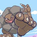 1:1 4_toes ambiguous_gender claws elemental_creature fangs feet foot_focus golem_(pokémon) mineral_fauna nintendo open_mouth pokémon pokémon_(species) soles solo toe_claws toes video_games zp92