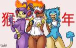 2015 ambipom anthro armpits big_breasts bottomless breasts chinese_text clothed clothing drako1997 ear_piercing eyelashes eyes_closed female fire group hand_behind_back hands_behind_head hi_res infernape mammal monkey nintendo nipples nude one_eye_closed open_mouth piercing pokémon primate pussy simipour text tongue tongue_out v_sign video_games wink  Rating: Explicit Score: 10 User: ultragamer89 Date: December 30, 2015