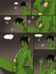 after_masturbation anthro balls black_hair blush comic cum cum_drip cum_on_chest cum_on_hand cum_on_self cumshot dragon dripping ejaculation erection eyes_closed green_balls green_body hair horn humanoid_penis lol_comments male masturbation nipples orgasm penile_masturbation penis reiger reptile scalie solo yellow_eyes