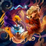 ambiguous_gender arcanine brown_eyes digital_drawing_(artwork) duo electric_type feral fire_type fluffy_tail foo_dog fur hair legendary_pokémon mammal nintendo open_mouth orange_fur pokémon raikou red_eyes teeth tongue tsaoshin video_games warm_colors white_fur yellow_fur   Rating: Safe  Score: 3  User: slyroon  Date: July 19, 2014